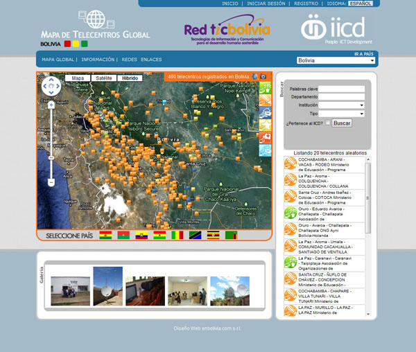 Mapa de Telecentros de Bolivia