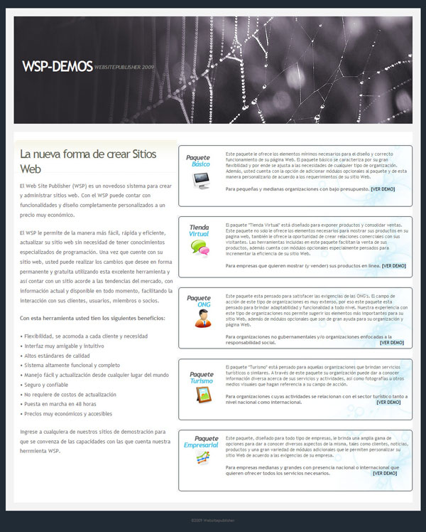 Web Site Publisher (WSP) Demo Sites